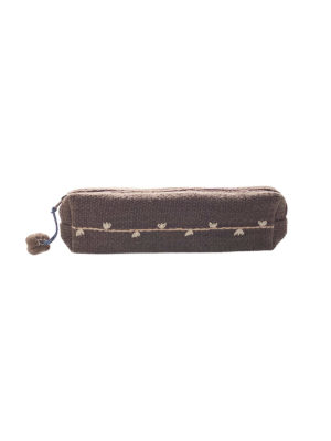 Brown handwoven pencil case, Chimmuwa, Fair Fashionista
