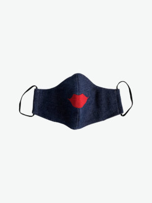 Reusable cotton mask, denim and red lips, Fair Fashionista