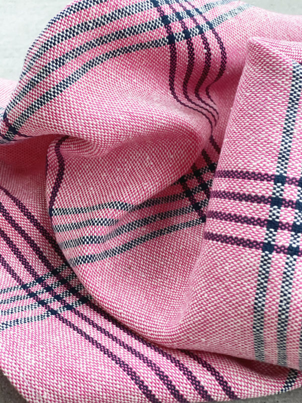 Silja tea towel, pink checks, handwoven cotton, Weavers & Fair Fashionista