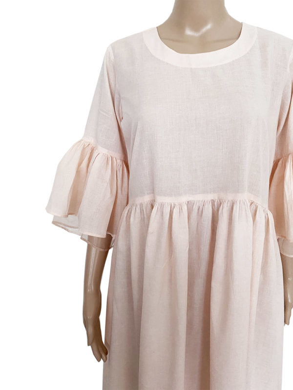 Pink Cotton Dress With Flared Sleeve, Increscent, Fair Fashionista